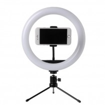 Foto LED Selfie Stick Ring Fill Light Lampada da 10 pollici dimmerabile con fotocamera ad anello con treppiede